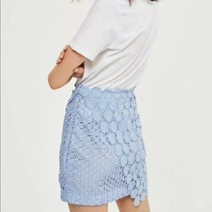 Topshop Size 12 Wrap Lace Mini Skirt Light Blue